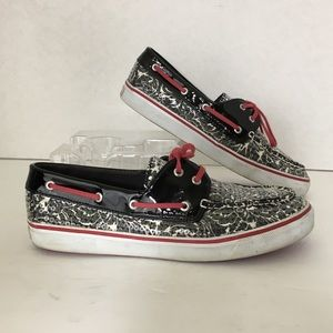 Sperry TopSiders Boat Shoes 9.5 Black White Sequin